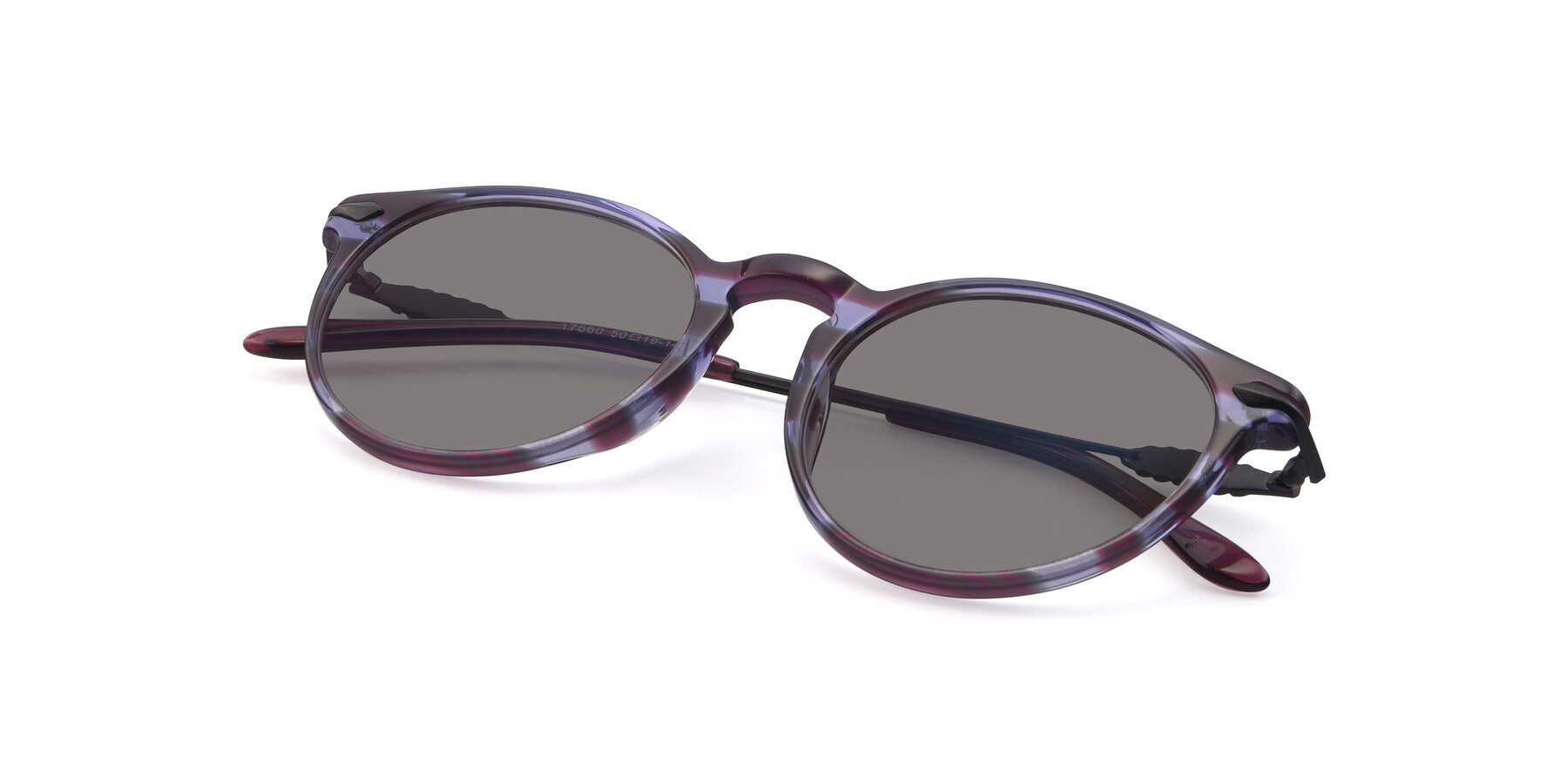 View of 17660 in Stripe Purple with Medium Gray Tinted Lenses