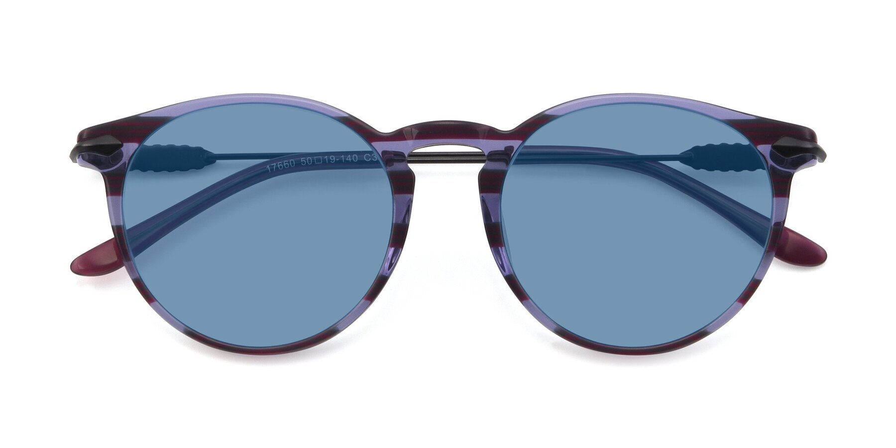 Folded Front of 17660 in Stripe Purple with Medium Blue Tinted Lenses