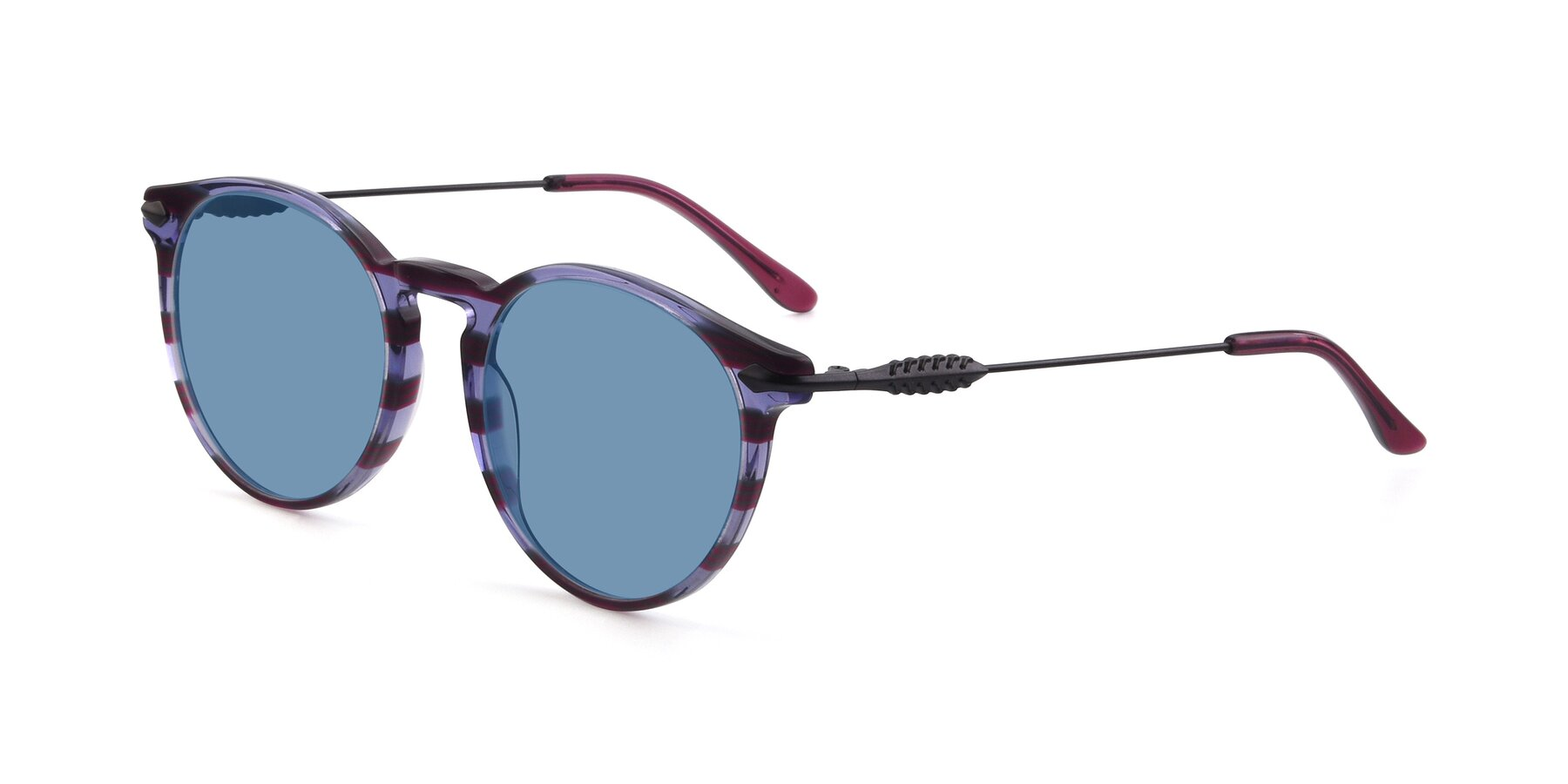 Angle of 17660 in Stripe Purple with Medium Blue Tinted Lenses