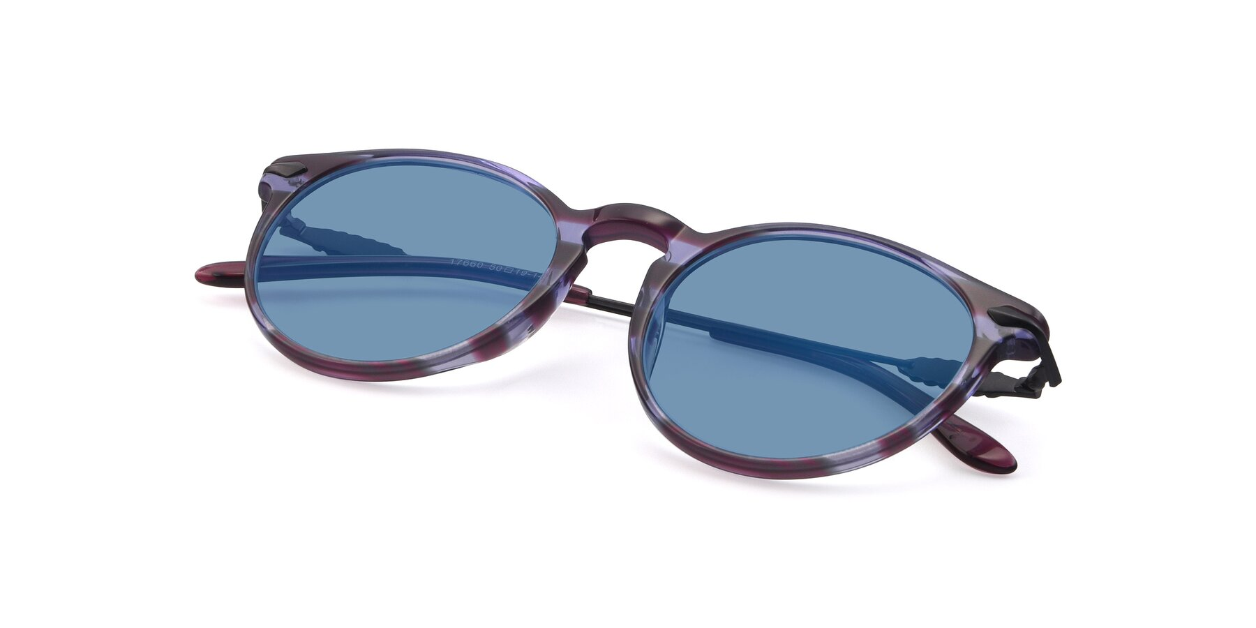 View of 17660 in Stripe Purple with Medium Blue Tinted Lenses