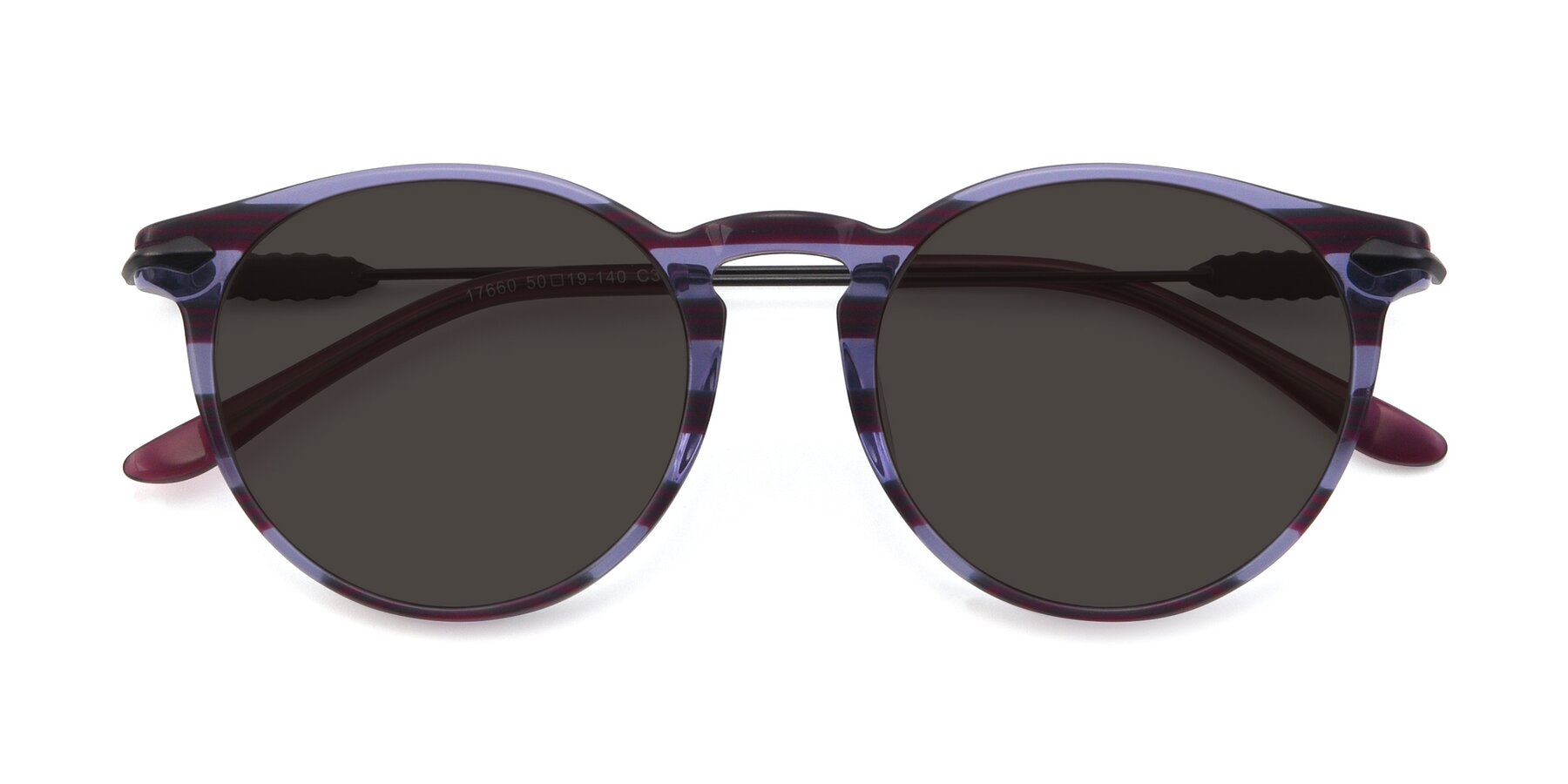 Folded Front of 17660 in Stripe Purple with Gray Tinted Lenses