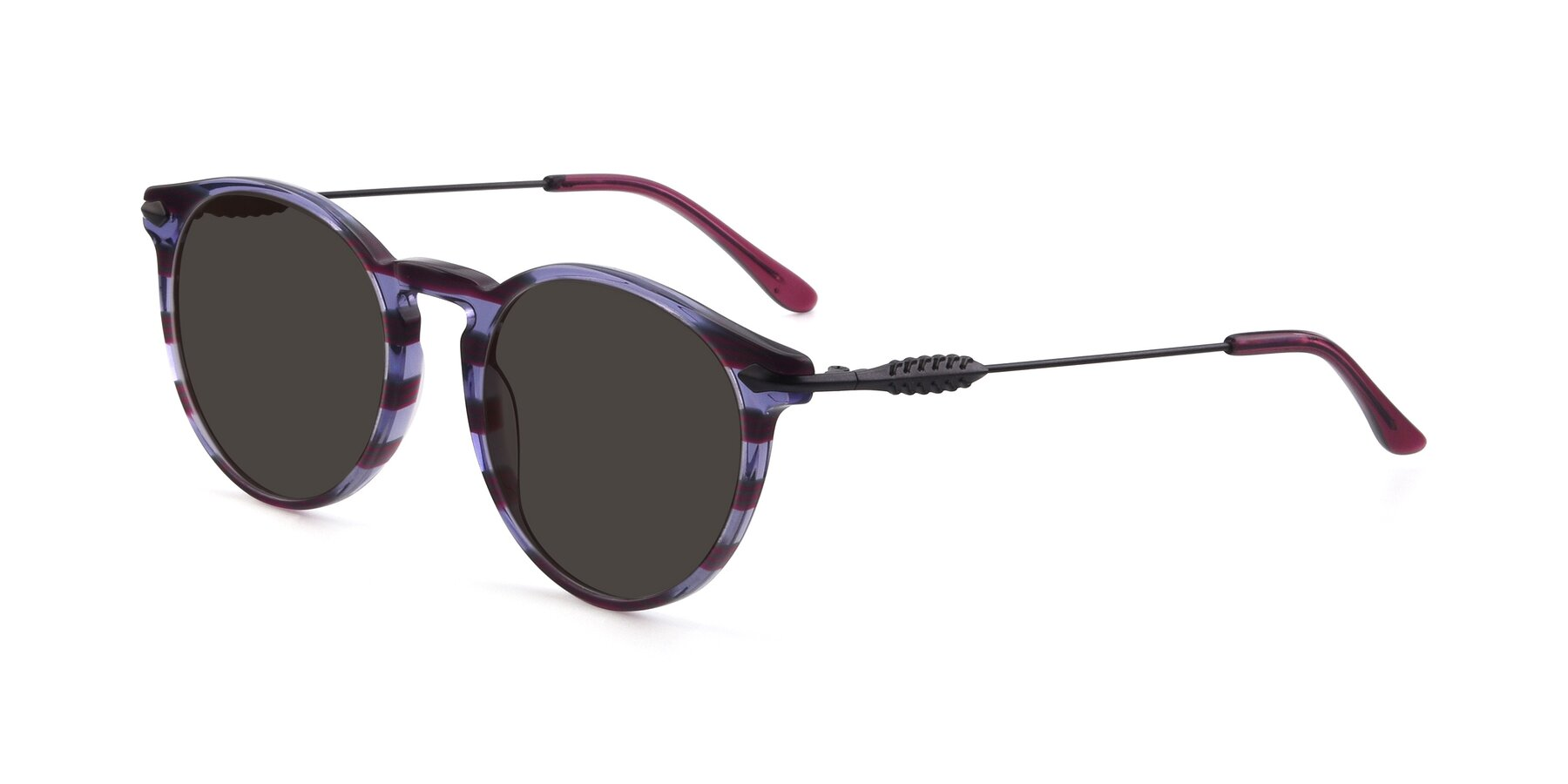Angle of 17660 in Stripe Purple with Gray Tinted Lenses