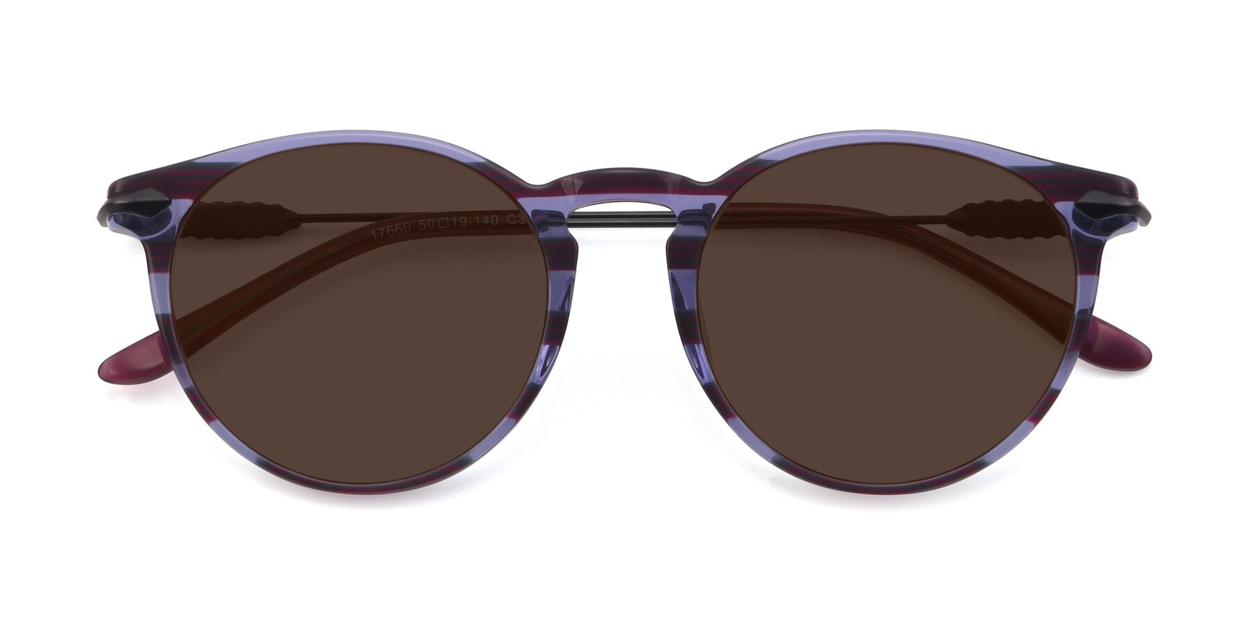 Folded Front of 17660 in Stripe Purple with Brown Tinted Lenses