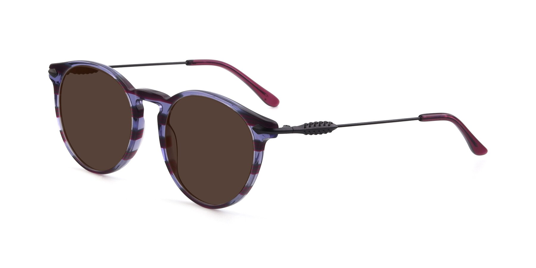 Angle of 17660 in Stripe Purple with Brown Tinted Lenses