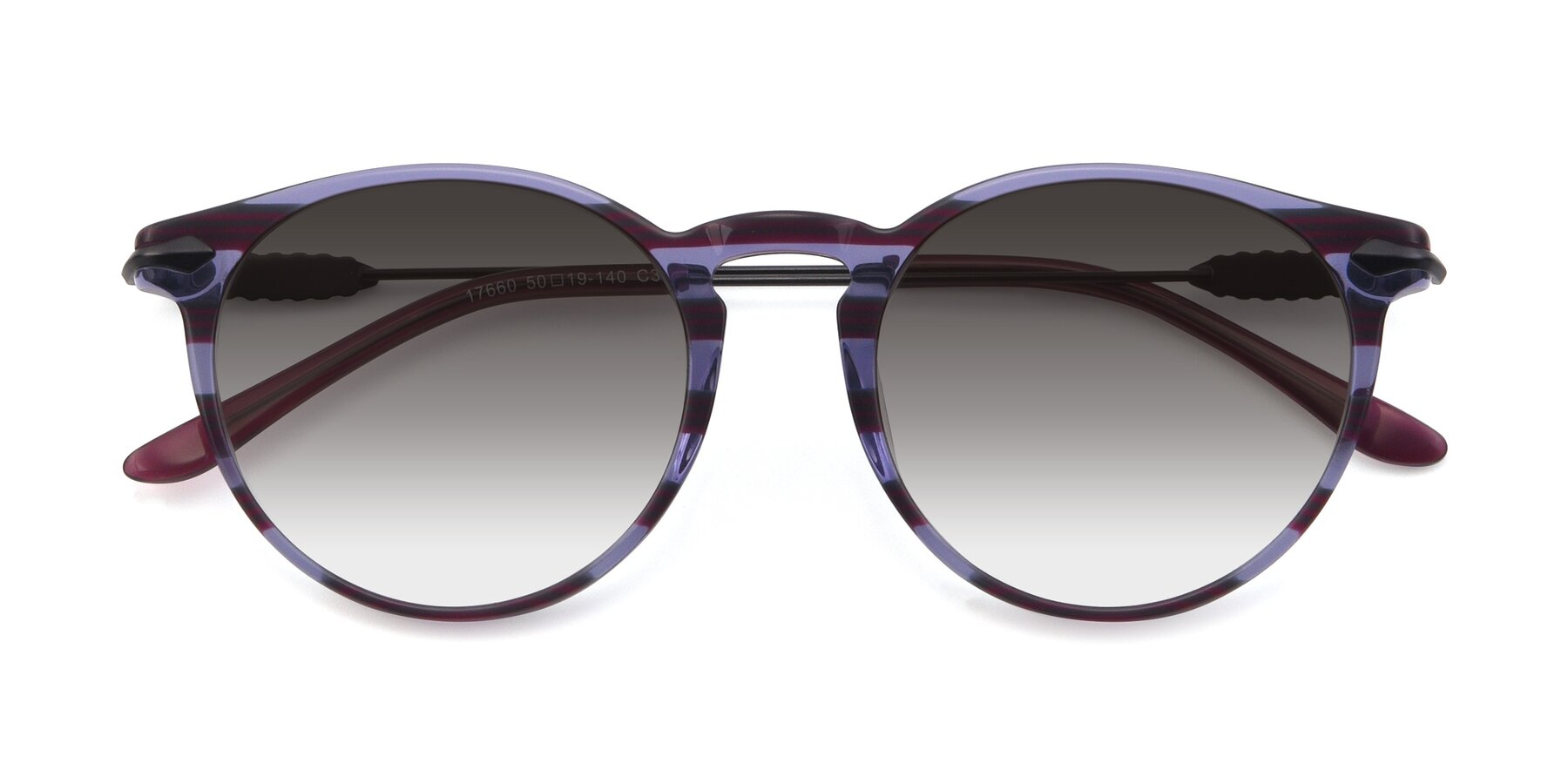 Folded Front of 17660 in Stripe Purple with Gray Gradient Lenses