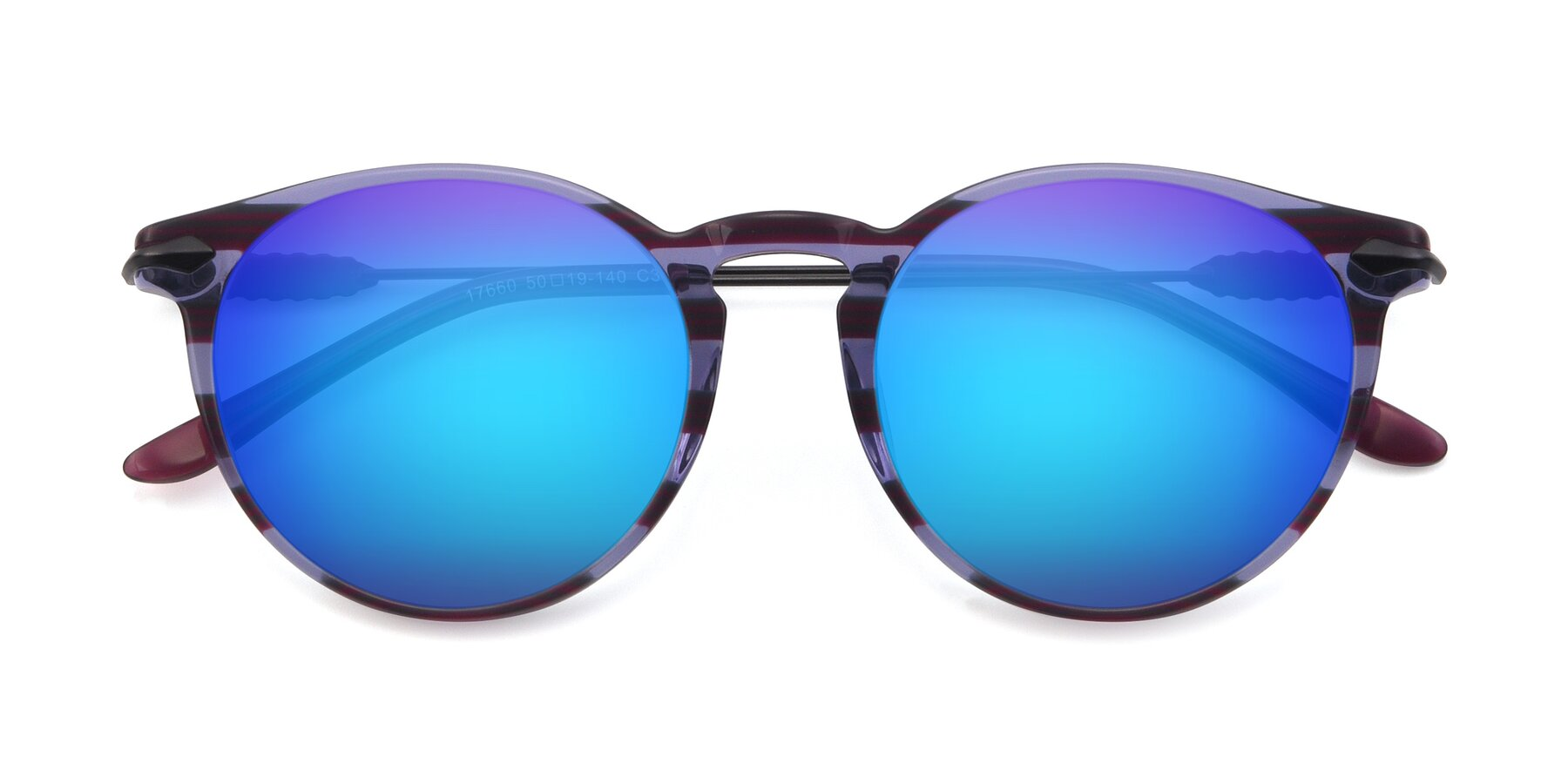 Folded Front of 17660 in Stripe Purple with Blue Mirrored Lenses