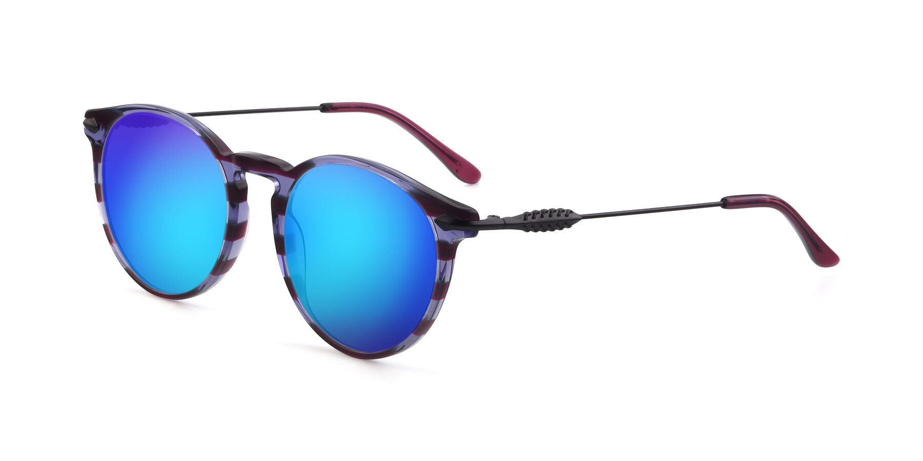 Angle of 17660 in Stripe Purple with Blue Mirrored Lenses