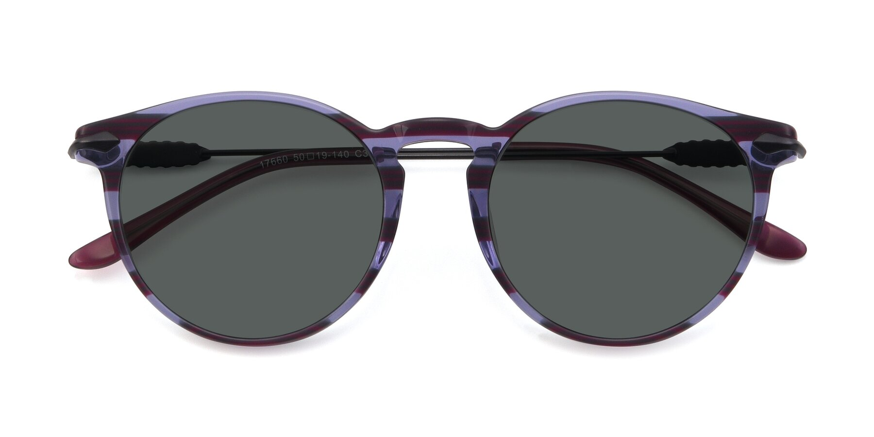 Folded Front of 17660 in Stripe Purple with Gray Polarized Lenses