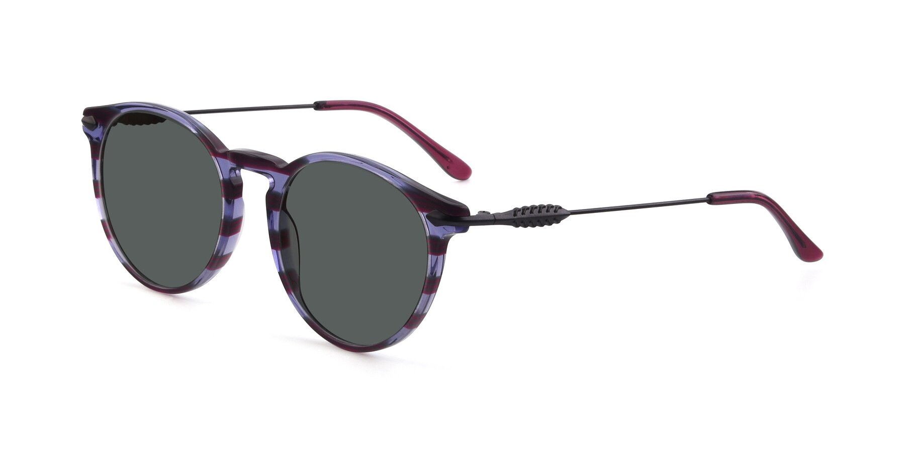 Angle of 17660 in Stripe Purple with Gray Polarized Lenses