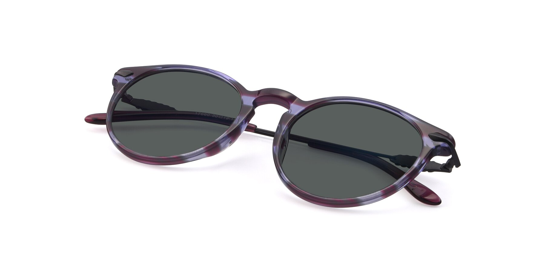 View of 17660 in Stripe Purple with Gray Polarized Lenses