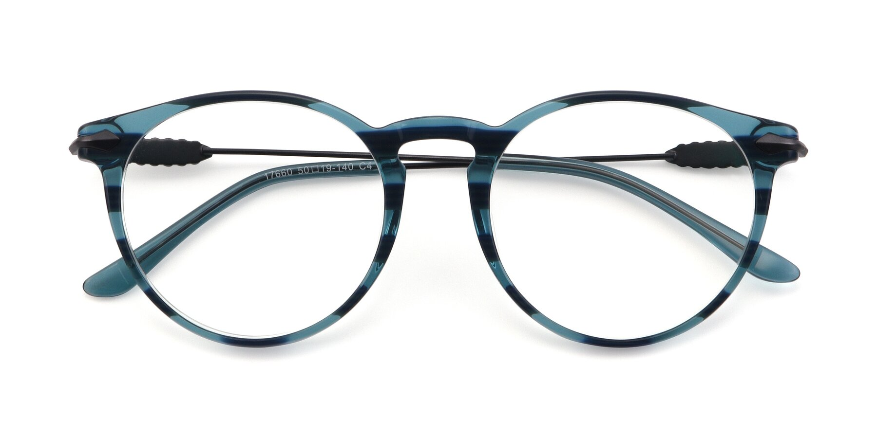 Folded Front of 17660 in Stripe Blue with Clear Blue Light Blocking Lenses