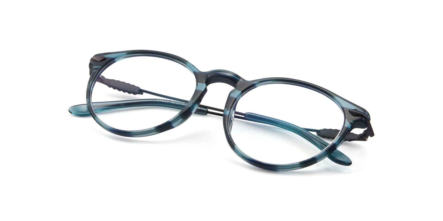 View of 17660 in Stripe Blue with Clear Blue Light Blocking Lenses