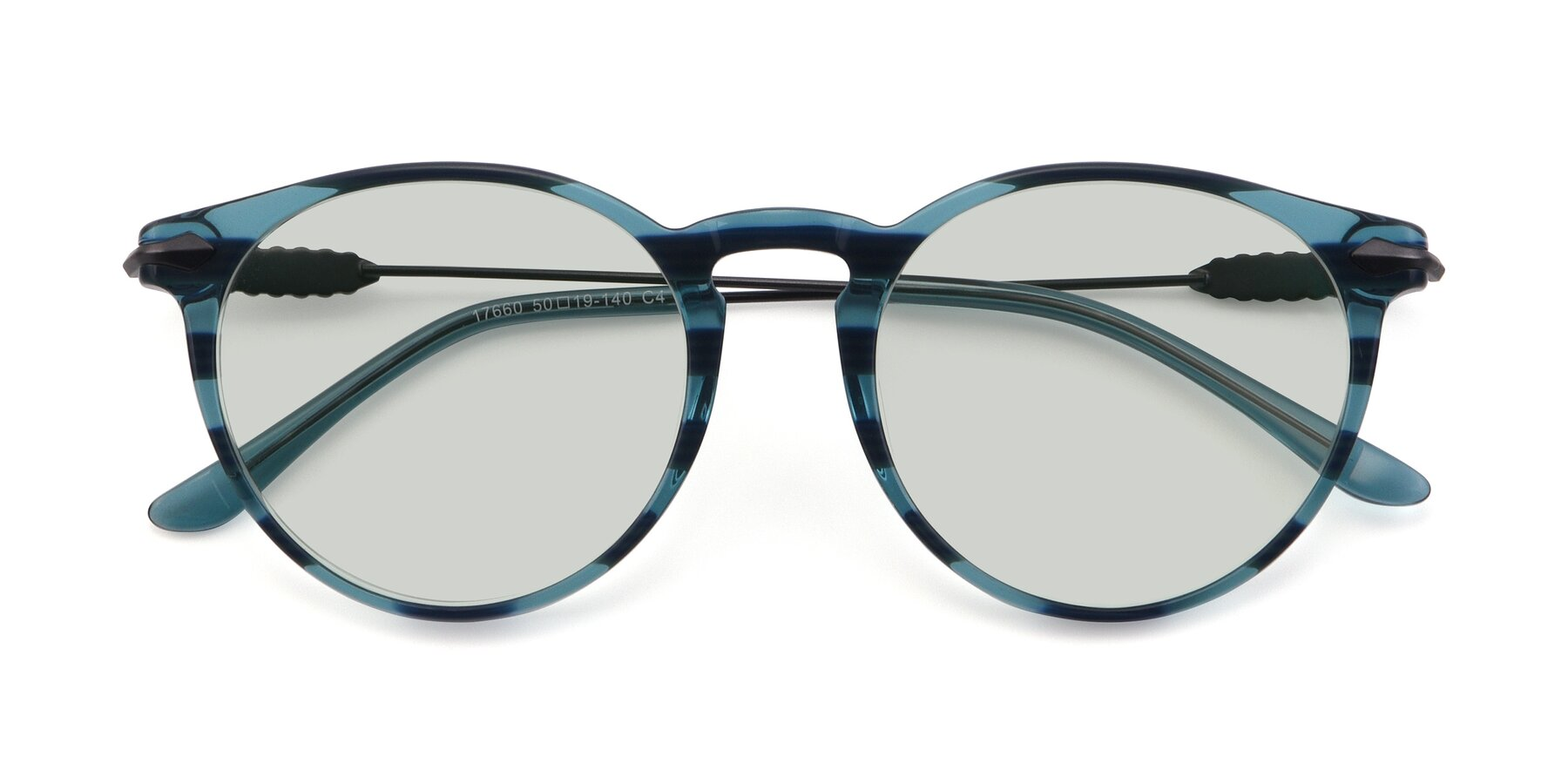 Folded Front of 17660 in Stripe Blue with Light Green Tinted Lenses