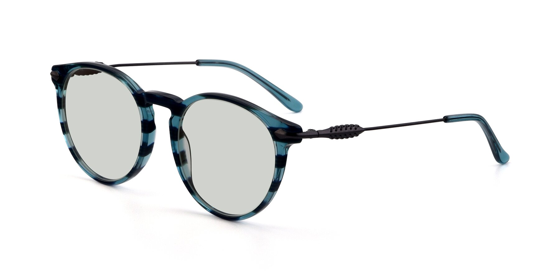 Angle of 17660 in Stripe Blue with Light Green Tinted Lenses