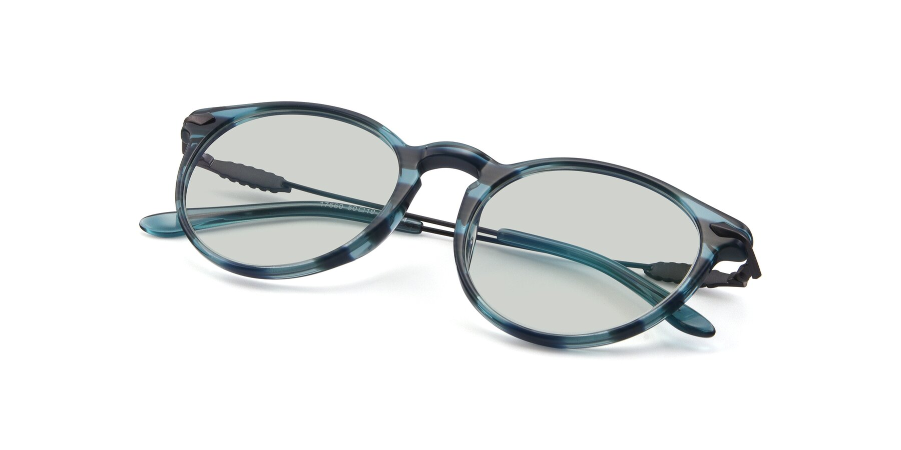 View of 17660 in Stripe Blue with Light Green Tinted Lenses