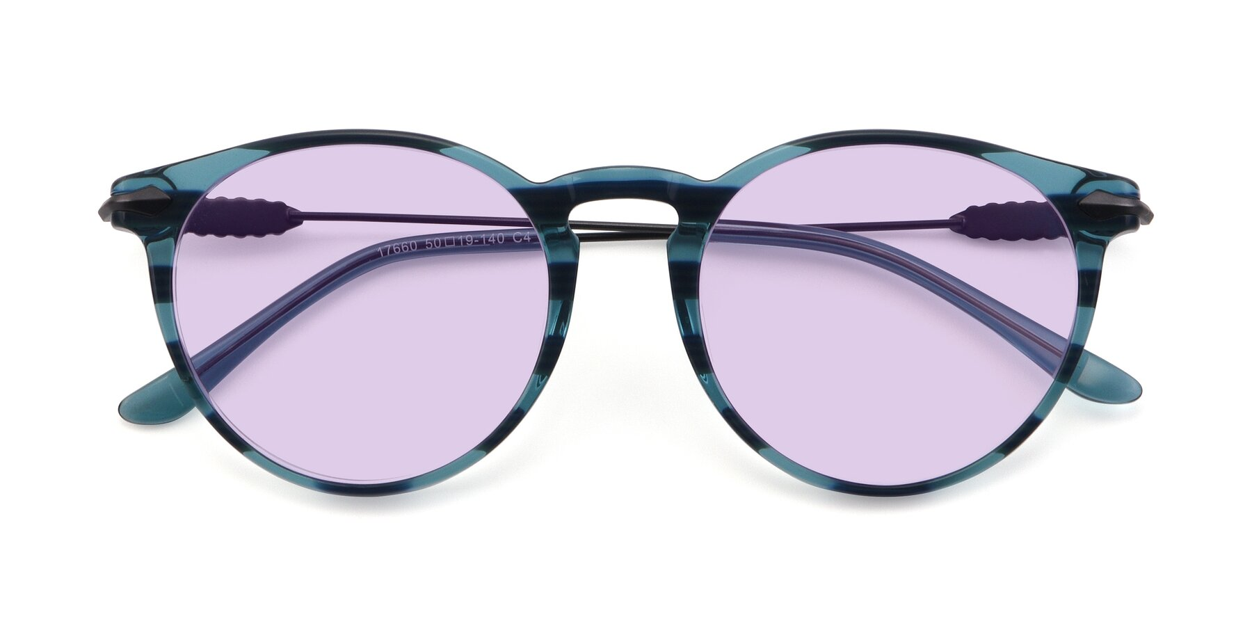 Folded Front of 17660 in Stripe Blue with Light Purple Tinted Lenses