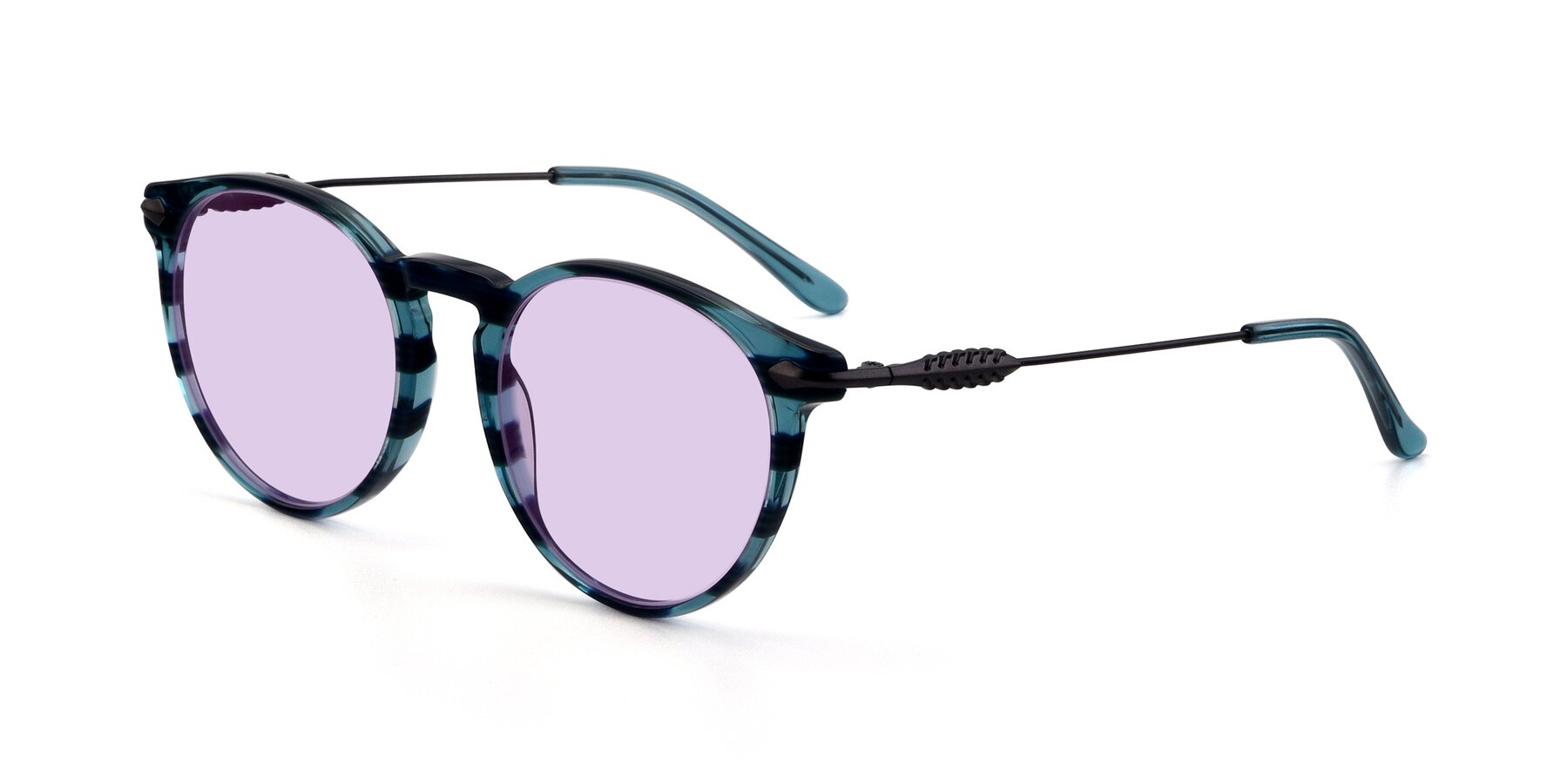 Angle of 17660 in Stripe Blue with Light Purple Tinted Lenses