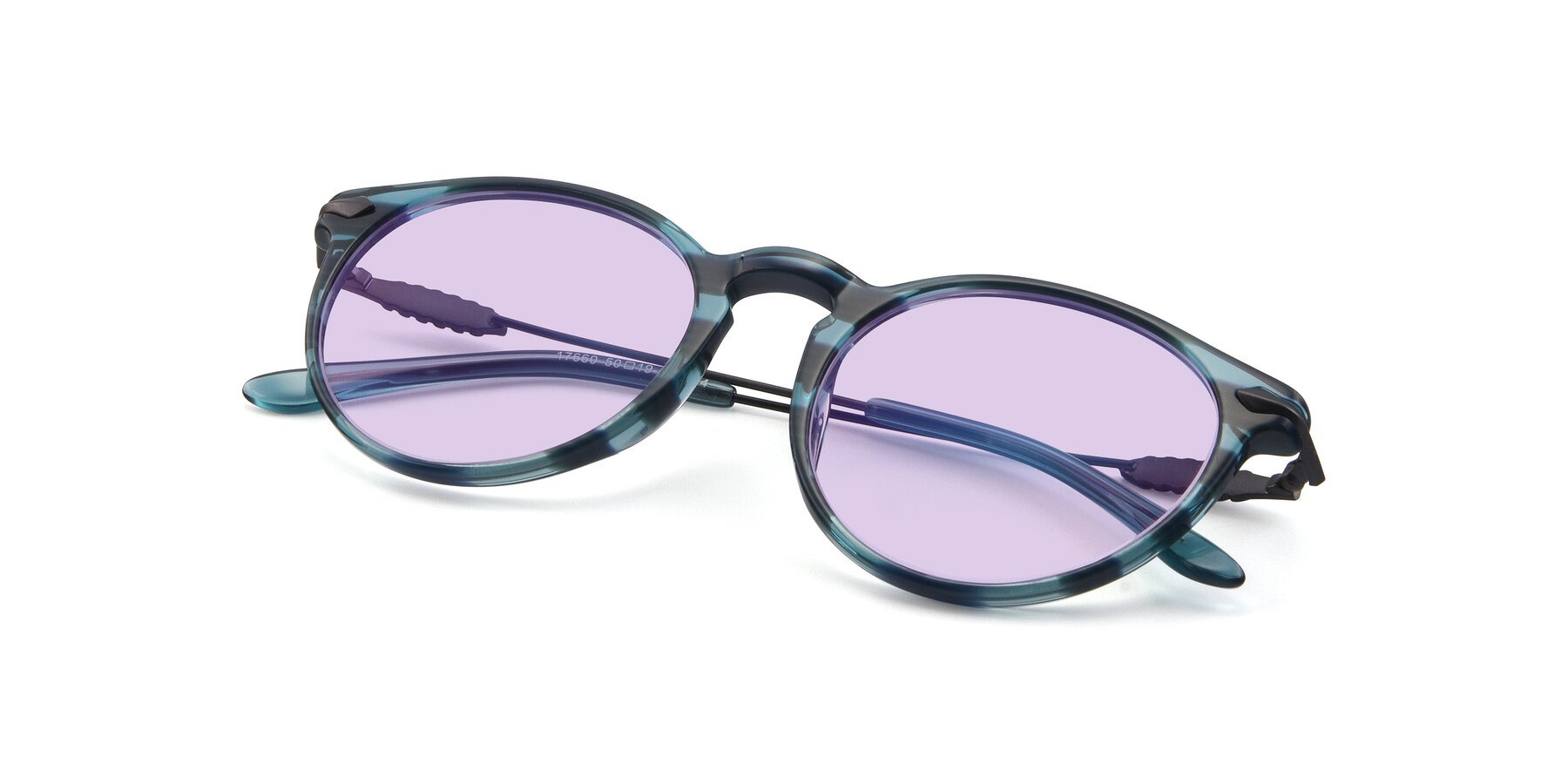 View of 17660 in Stripe Blue with Light Purple Tinted Lenses