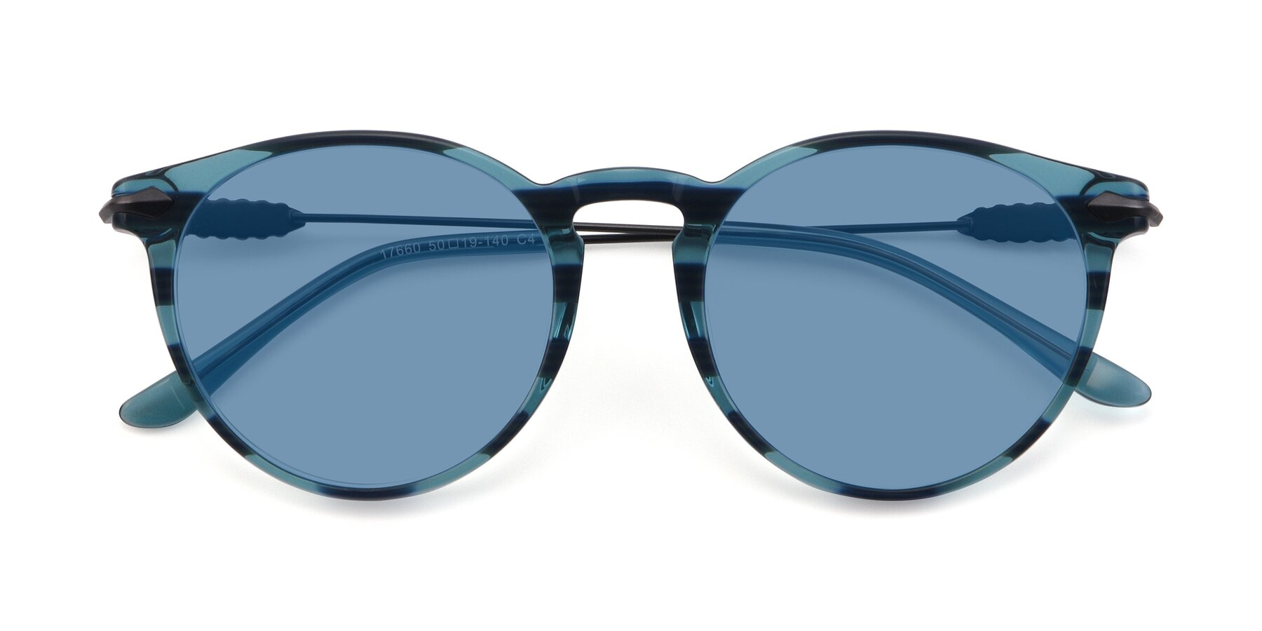 Folded Front of 17660 in Stripe Blue with Medium Blue Tinted Lenses