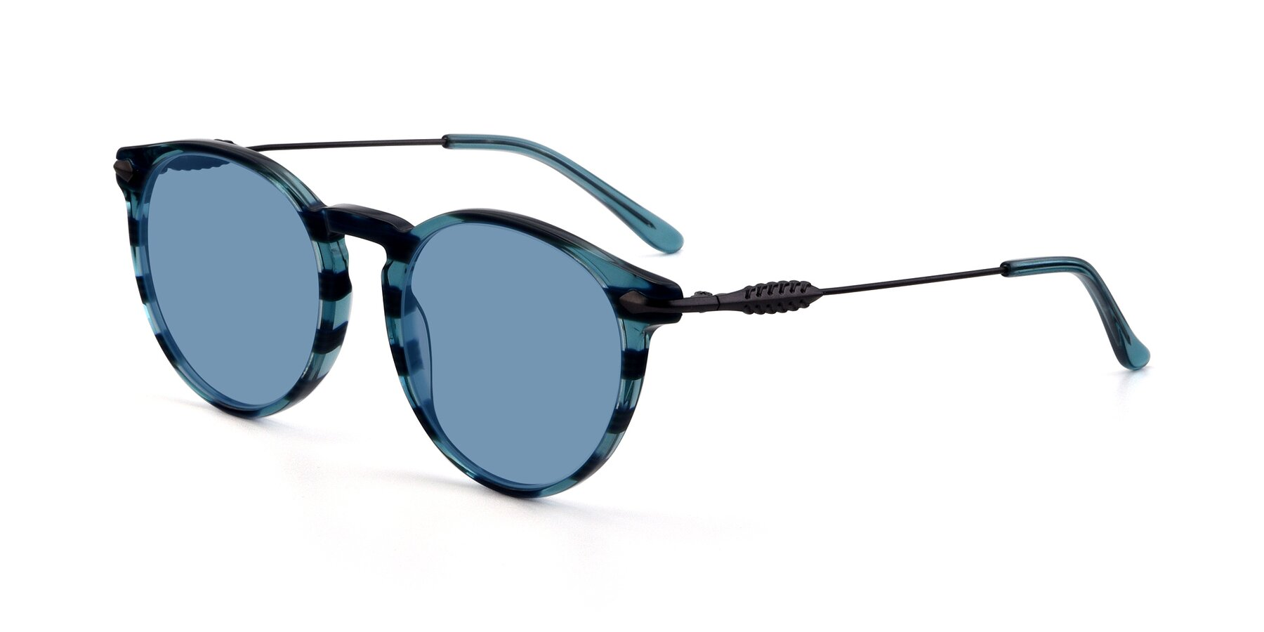 Angle of 17660 in Stripe Blue with Medium Blue Tinted Lenses