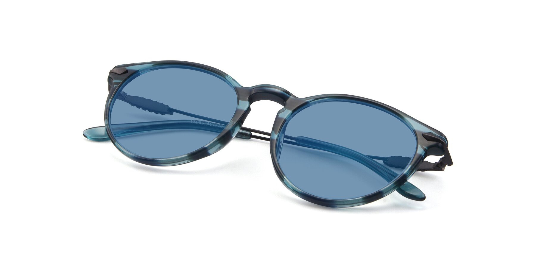 View of 17660 in Stripe Blue with Medium Blue Tinted Lenses