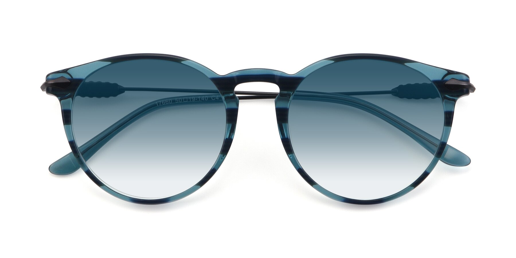 Folded Front of 17660 in Stripe Blue with Blue Gradient Lenses