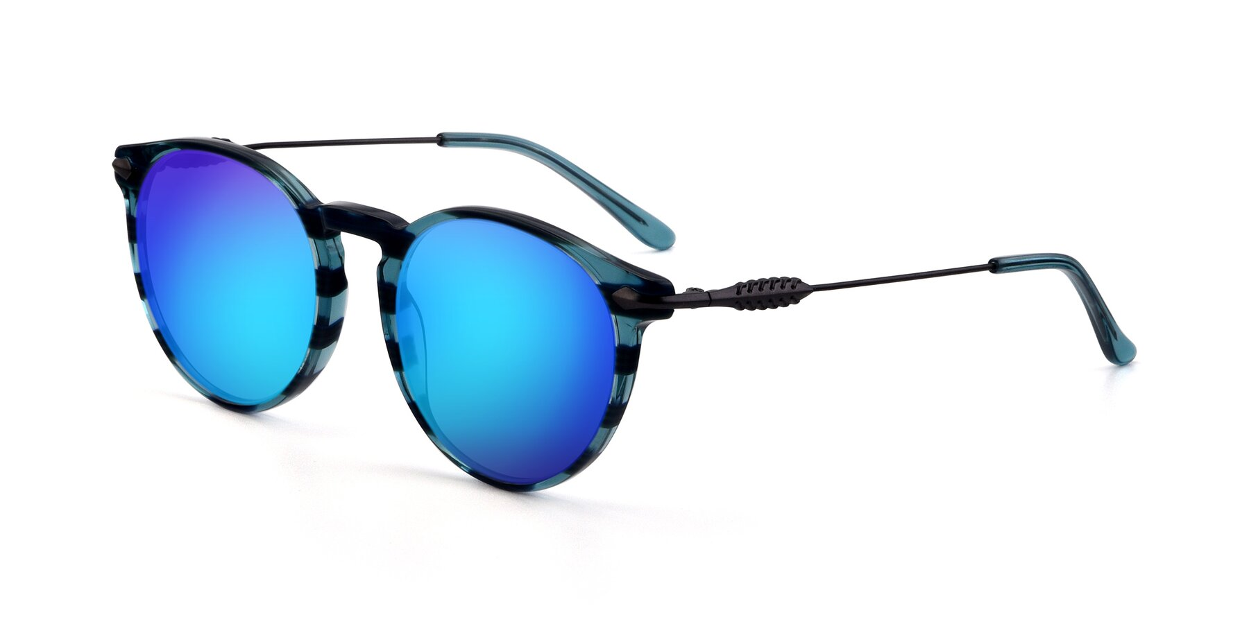 Angle of 17660 in Stripe Blue with Blue Mirrored Lenses