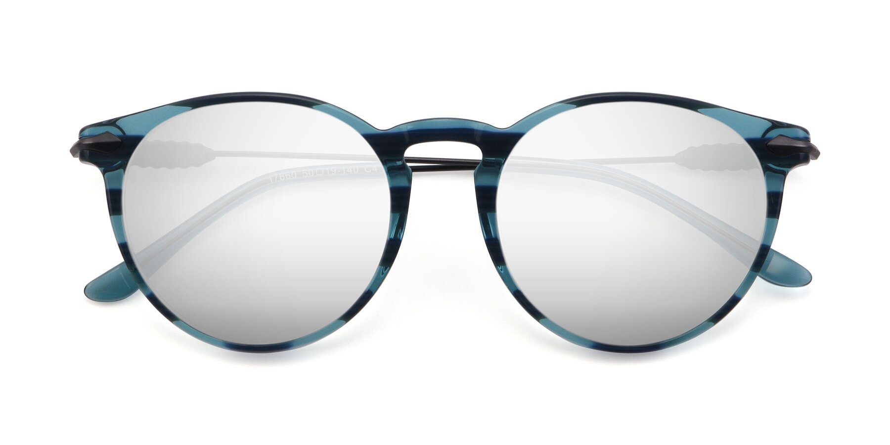 Folded Front of 17660 in Stripe Blue with Silver Mirrored Lenses