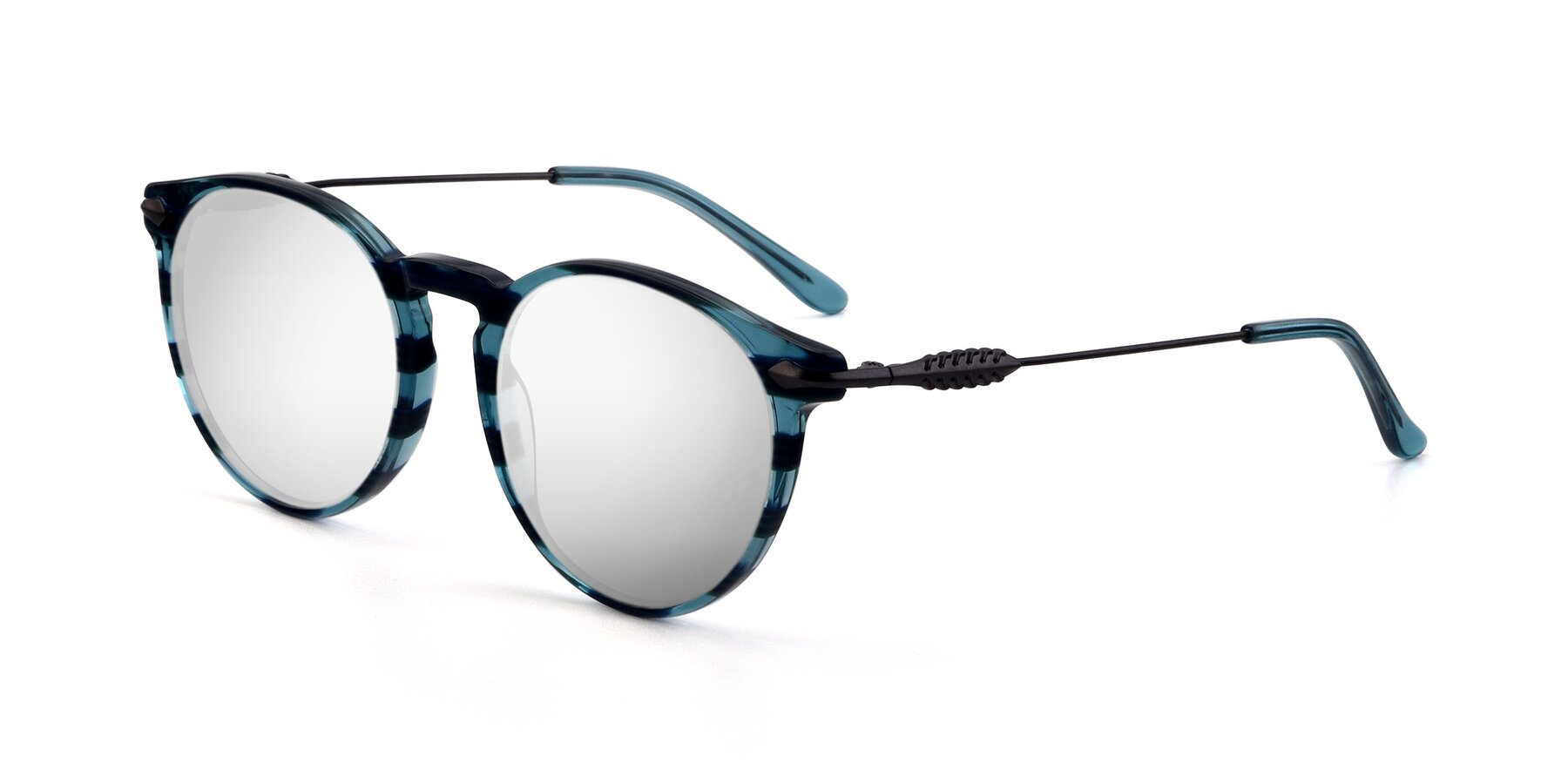 Angle of 17660 in Stripe Blue with Silver Mirrored Lenses