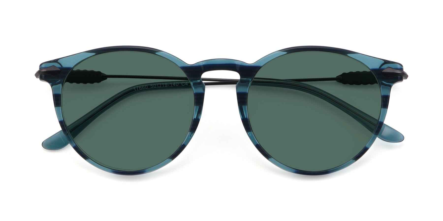 Folded Front of 17660 in Stripe Blue with Green Polarized Lenses