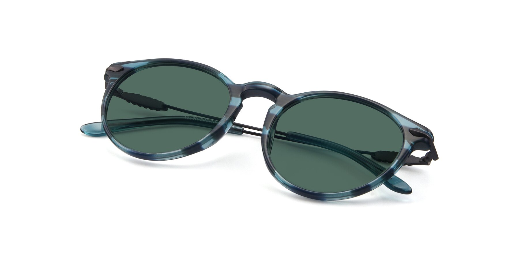 View of 17660 in Stripe Blue with Green Polarized Lenses
