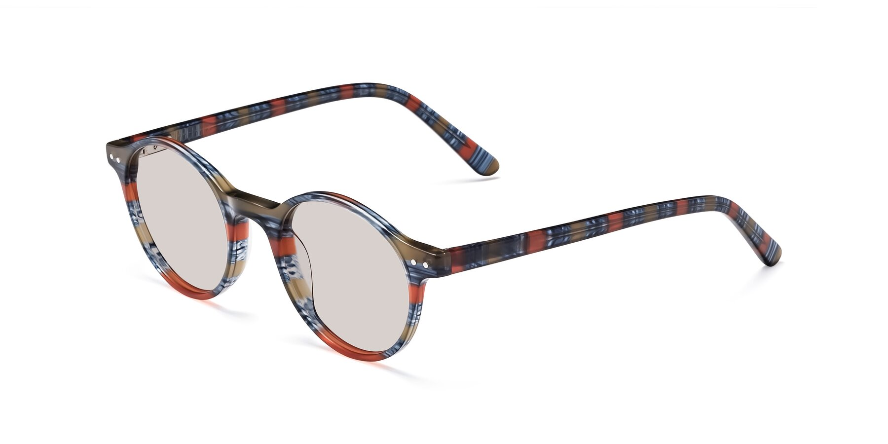 Angle of 17519 in Stripe Blue Red with Light Brown Tinted Lenses