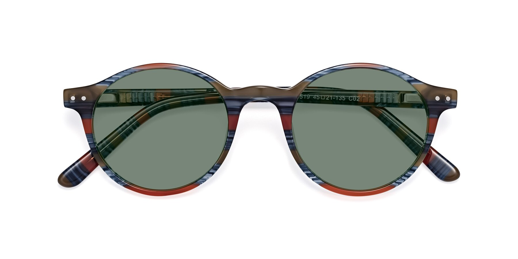 Folded Front of 17519 in Stripe Blue Red with Medium Green Tinted Lenses