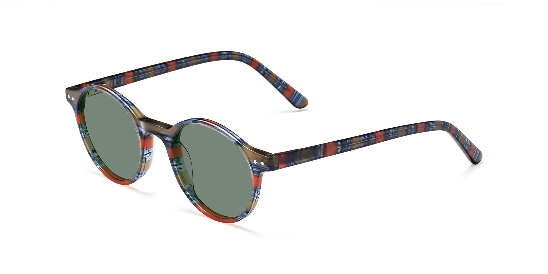 Angle of 17519 in Stripe Blue Red with Medium Green Tinted Lenses