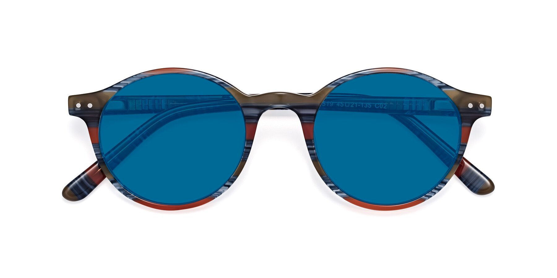 Folded Front of 17519 in Stripe Blue Red with Blue Tinted Lenses