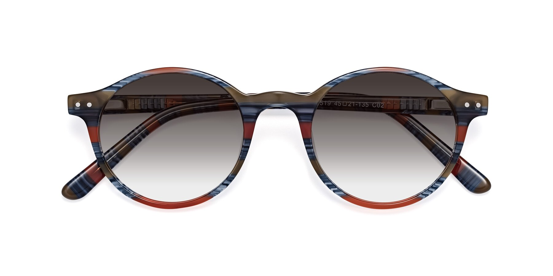 Folded Front of 17519 in Stripe Blue Red with Gray Gradient Lenses