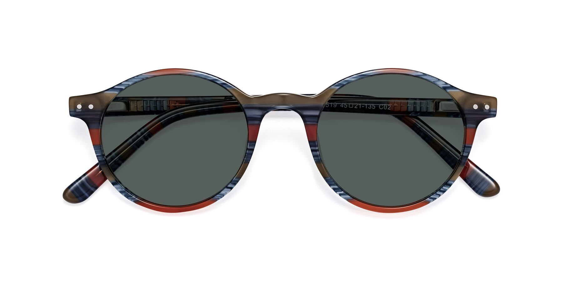 Folded Front of 17519 in Stripe Blue Red with Gray Polarized Lenses