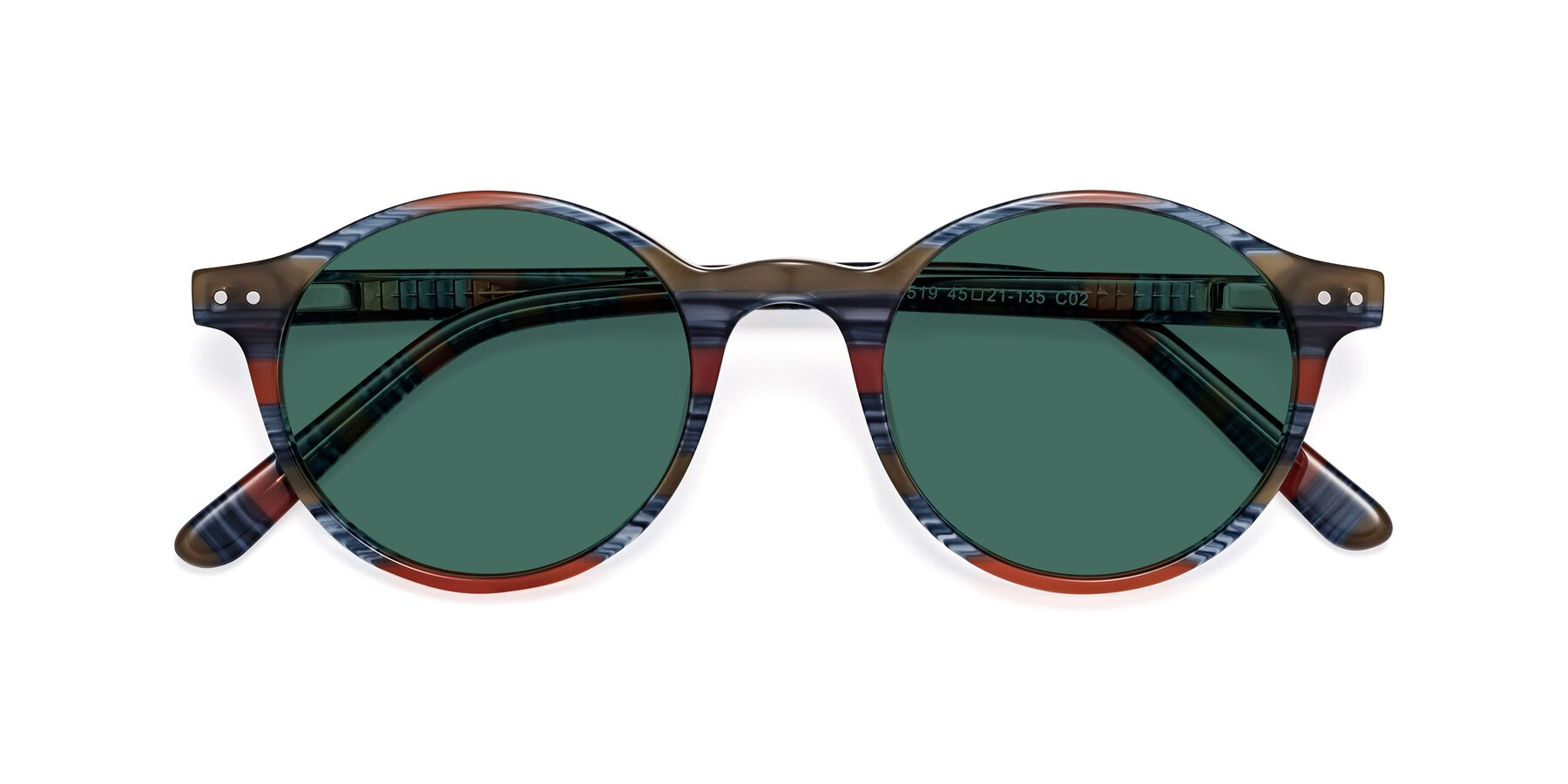 Folded Front of 17519 in Stripe Blue Red with Green Polarized Lenses
