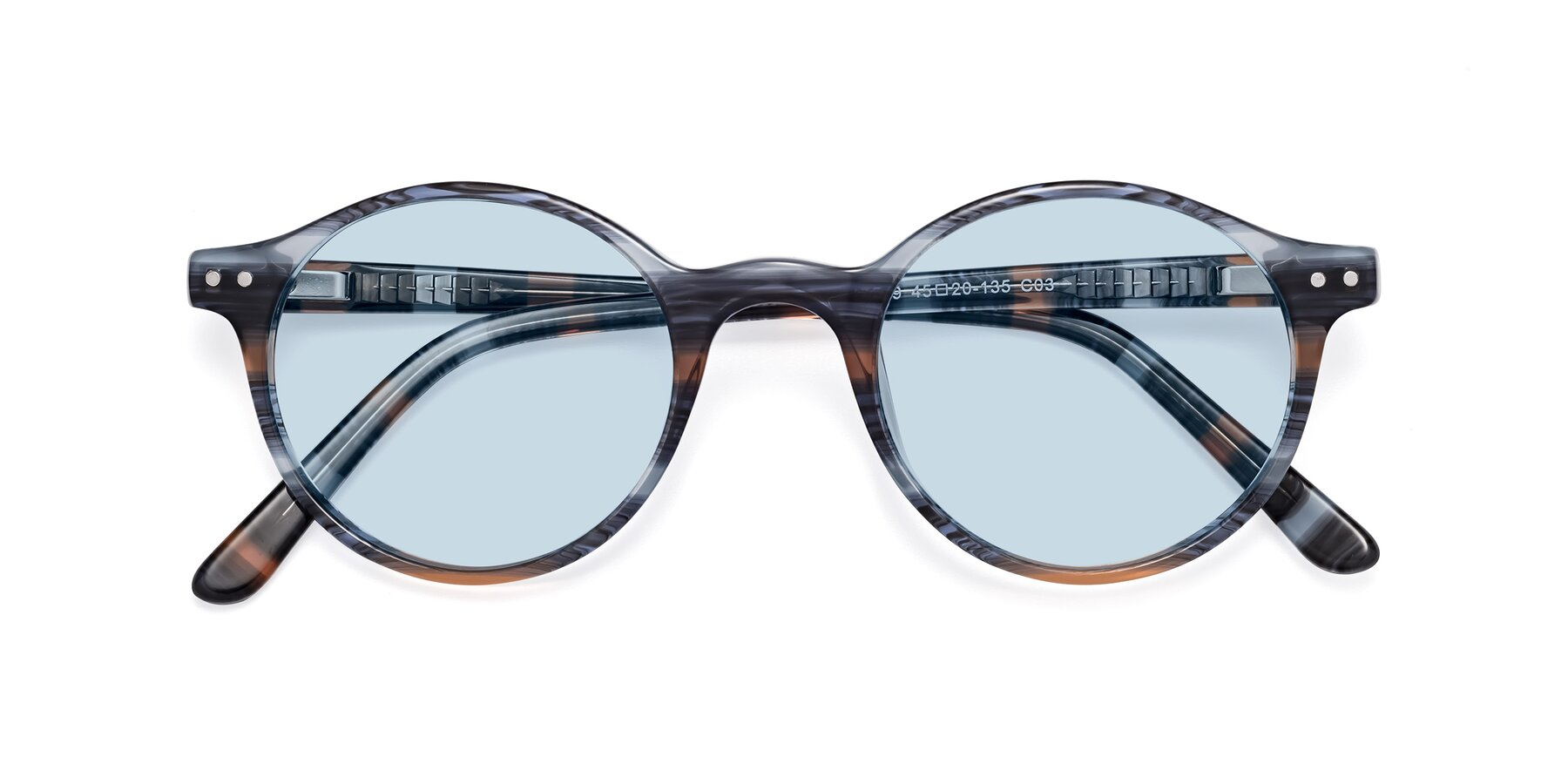 Folded Front of 17519 in Stripe Blue Brown with Light Blue Tinted Lenses