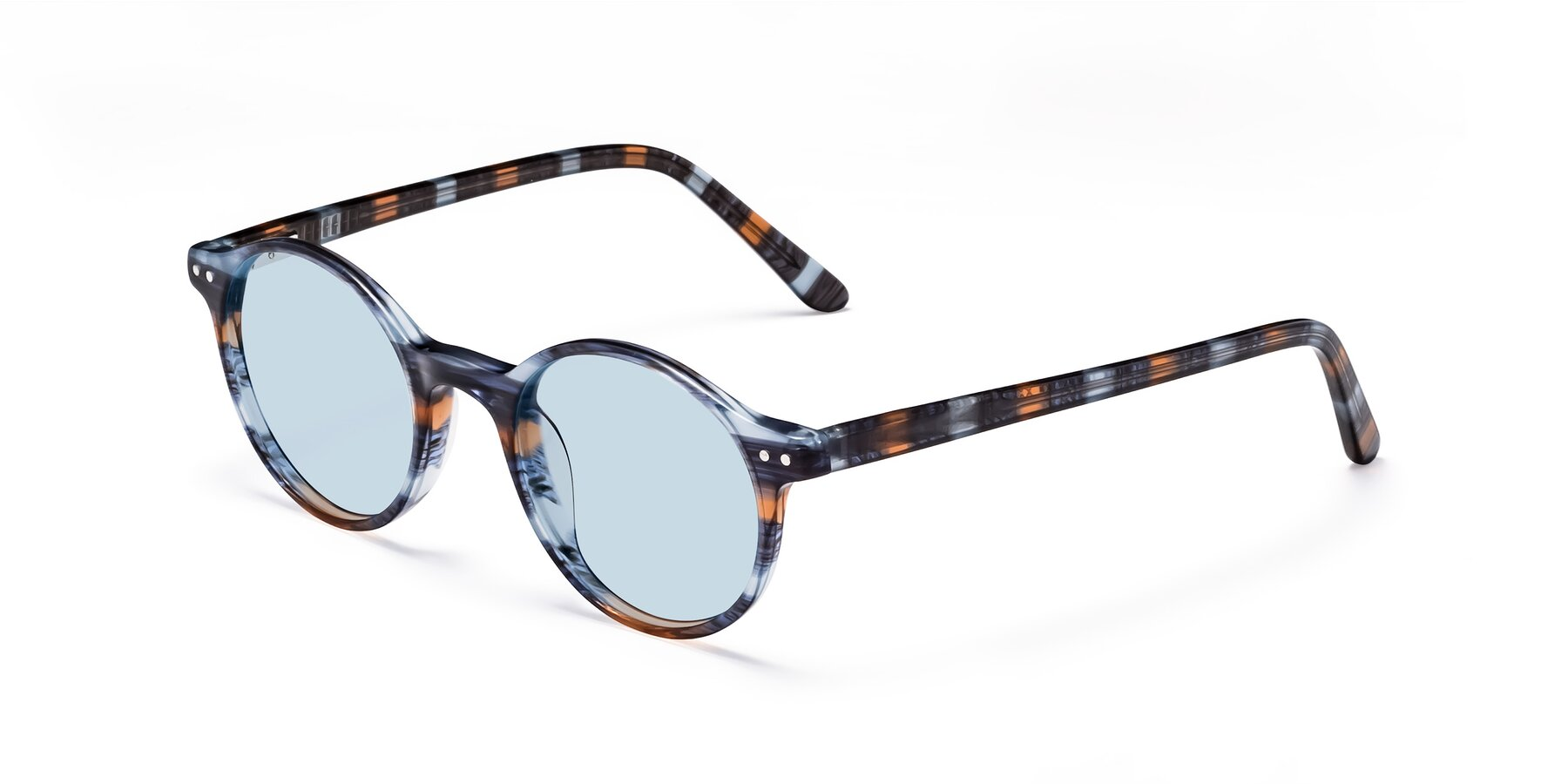 Angle of 17519 in Stripe Blue Brown with Light Blue Tinted Lenses