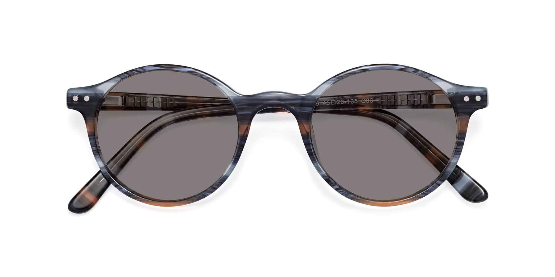 Folded Front of 17519 in Stripe Blue Brown with Medium Gray Tinted Lenses