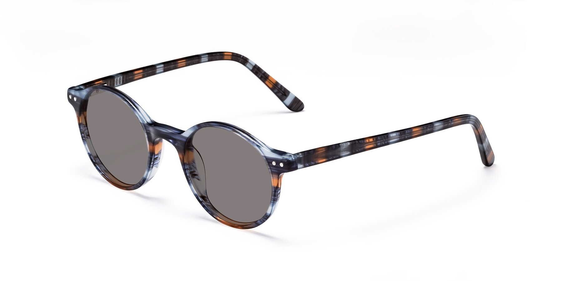 Angle of 17519 in Stripe Blue Brown with Medium Gray Tinted Lenses