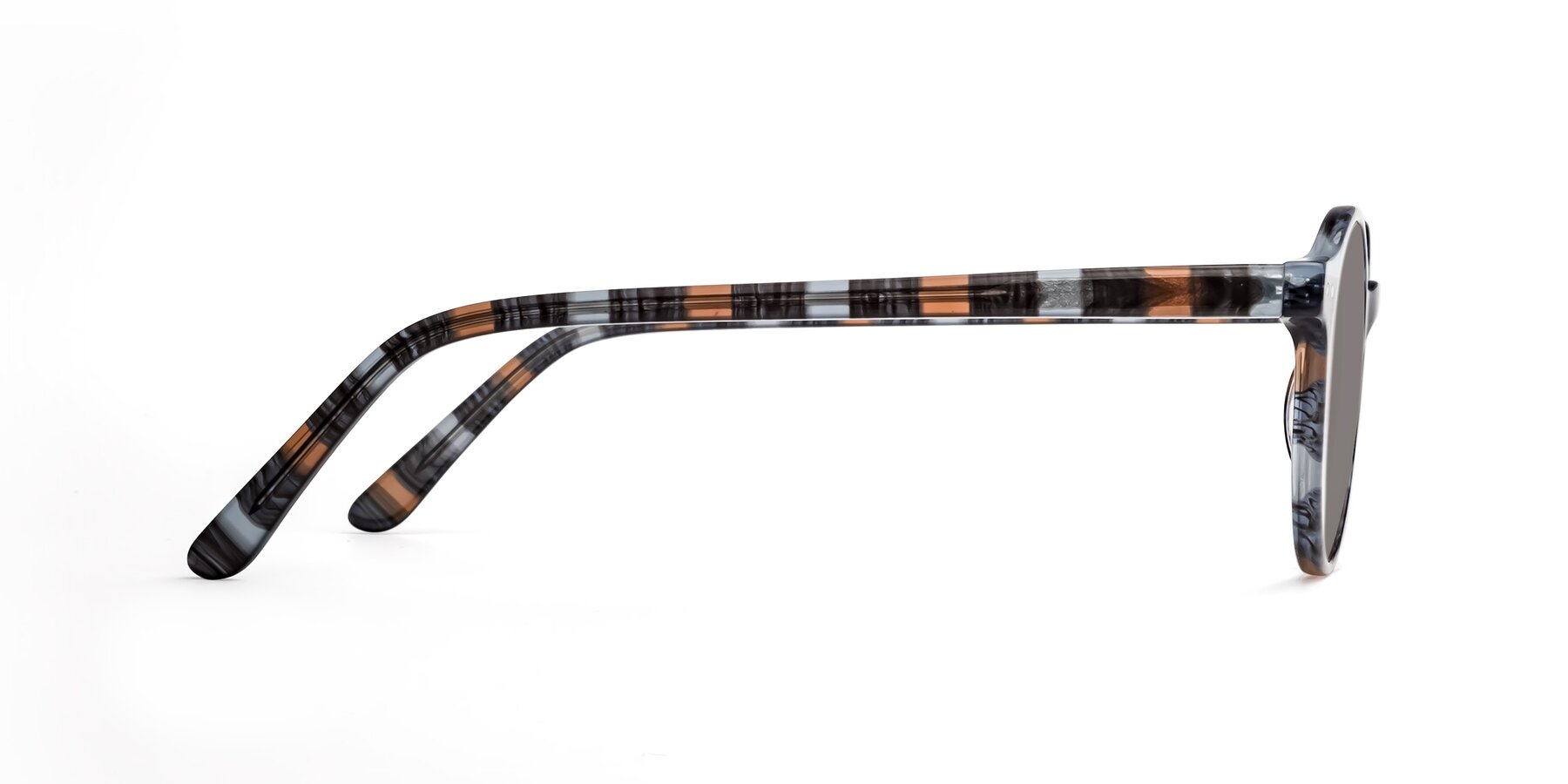 Side of 17519 in Stripe Blue Brown with Medium Gray Tinted Lenses