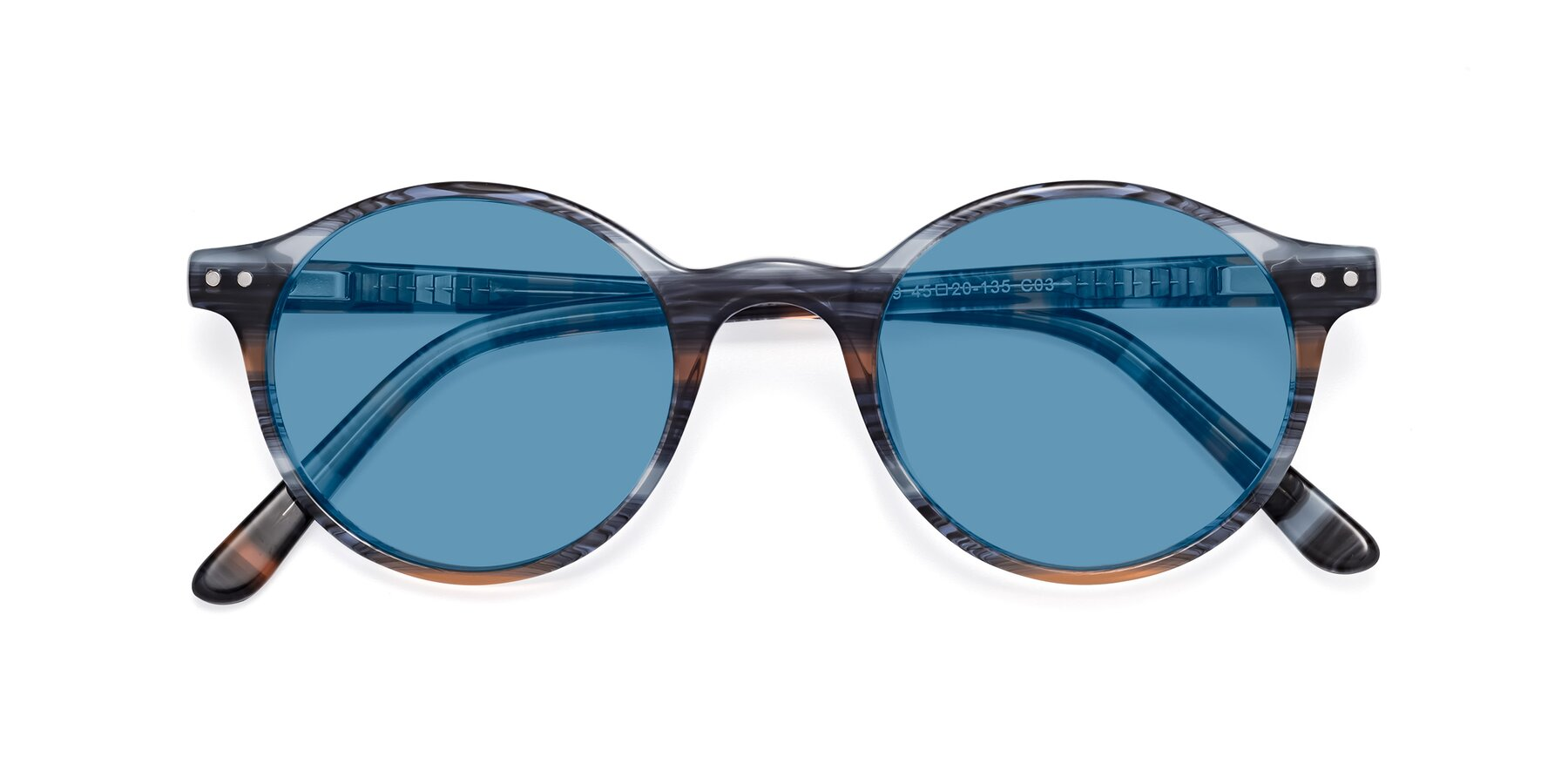 Folded Front of 17519 in Stripe Blue Brown with Medium Blue Tinted Lenses