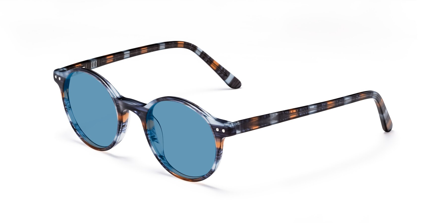 Angle of 17519 in Stripe Blue Brown with Medium Blue Tinted Lenses