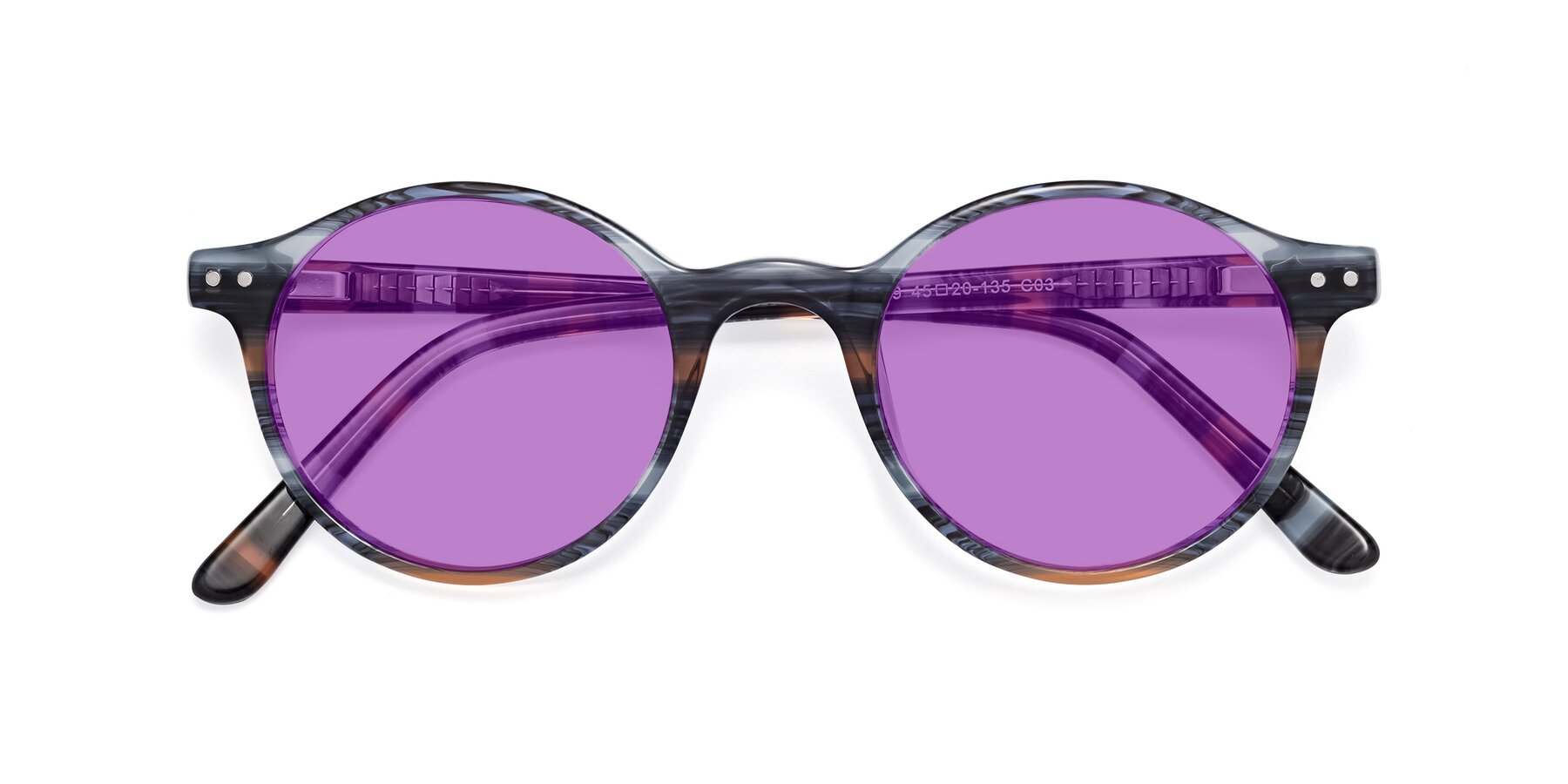 Folded Front of 17519 in Stripe Blue Brown with Medium Purple Tinted Lenses