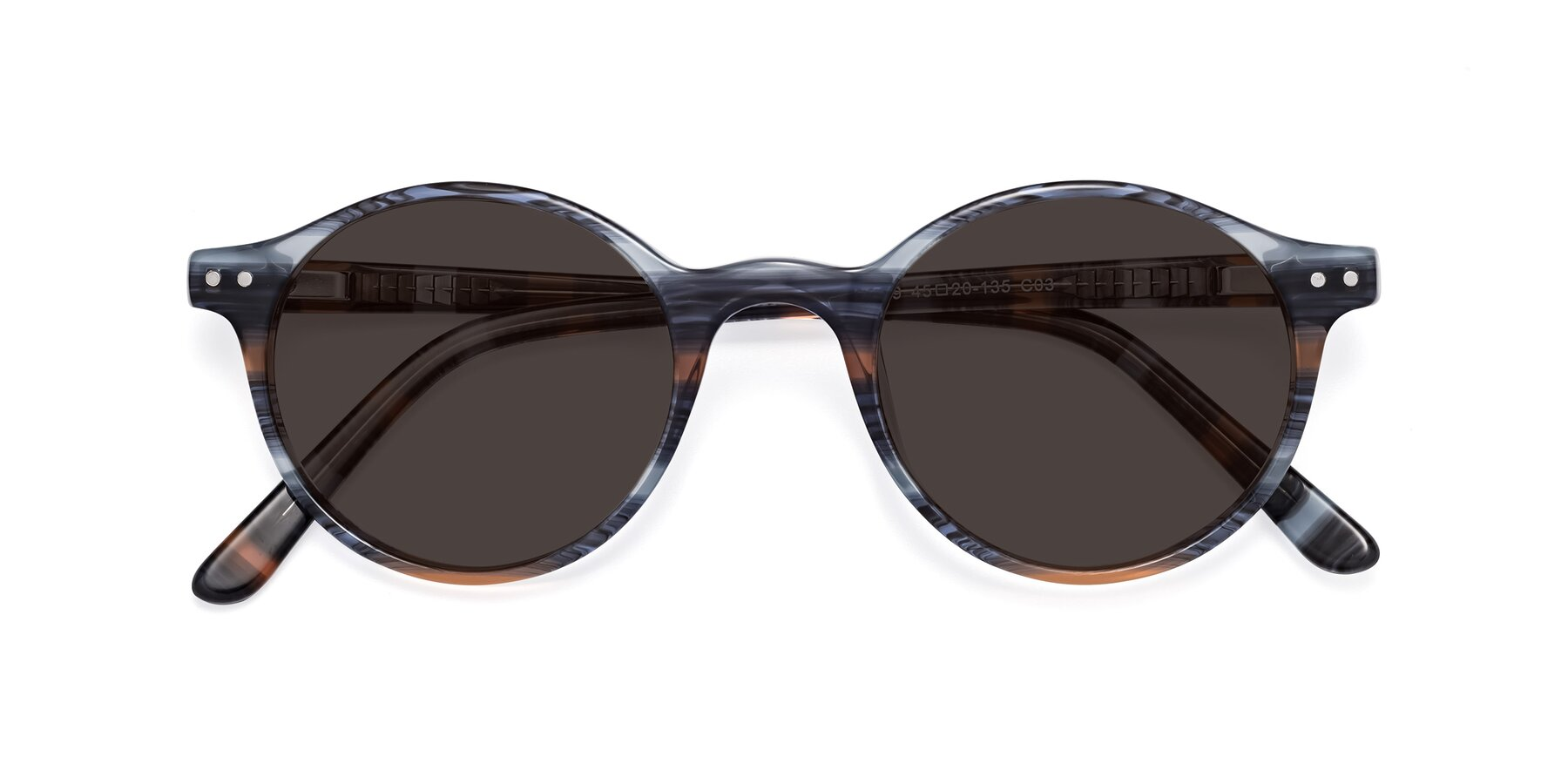 Folded Front of 17519 in Stripe Blue Brown with Gray Tinted Lenses
