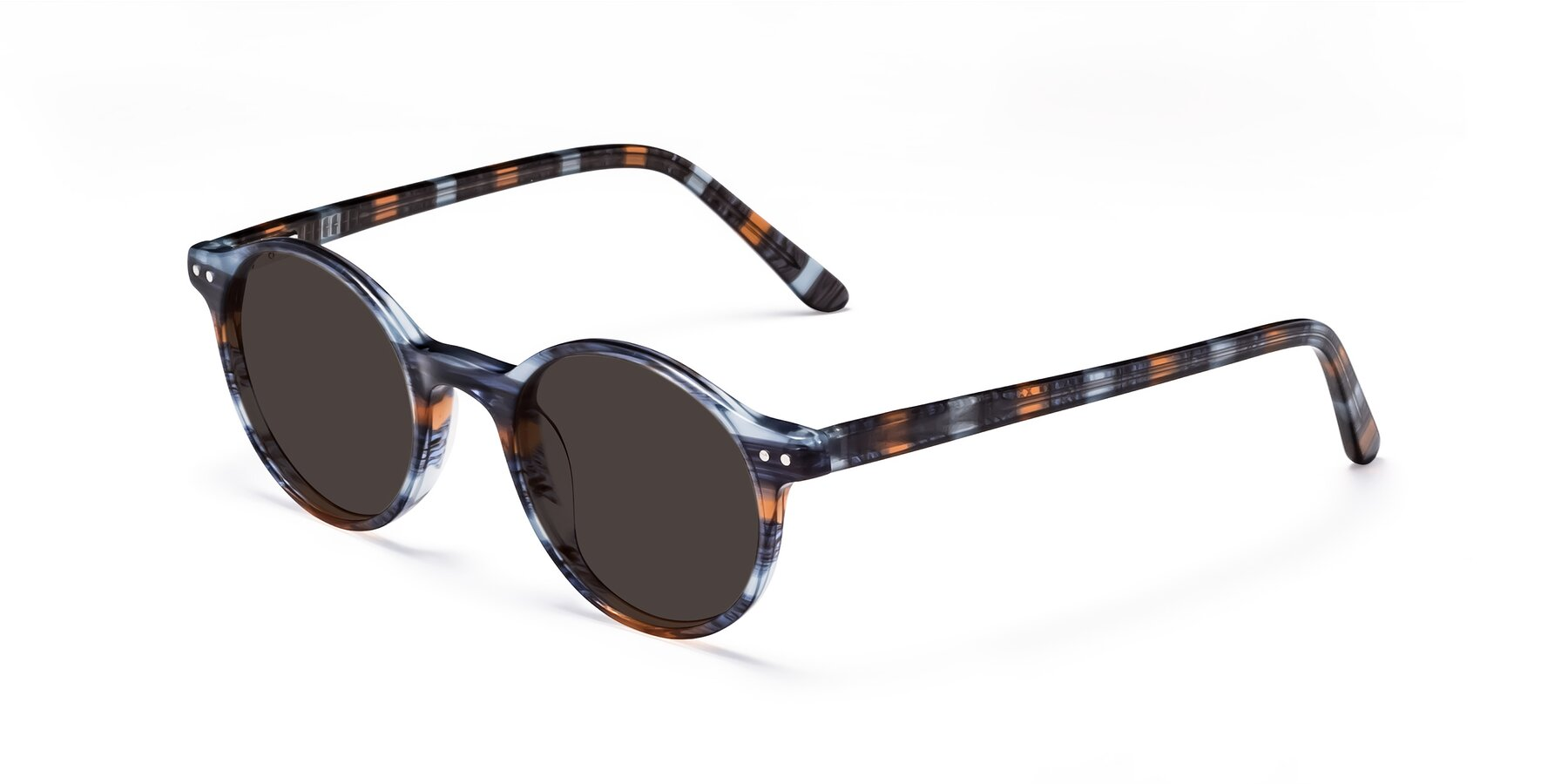 Angle of 17519 in Stripe Blue Brown with Gray Tinted Lenses