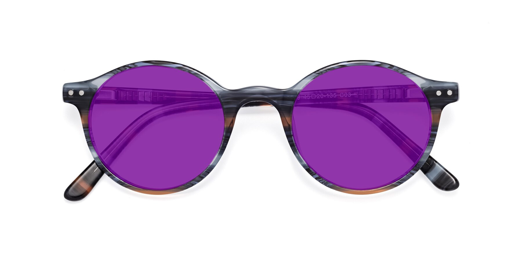 Folded Front of 17519 in Stripe Blue Brown with Purple Tinted Lenses