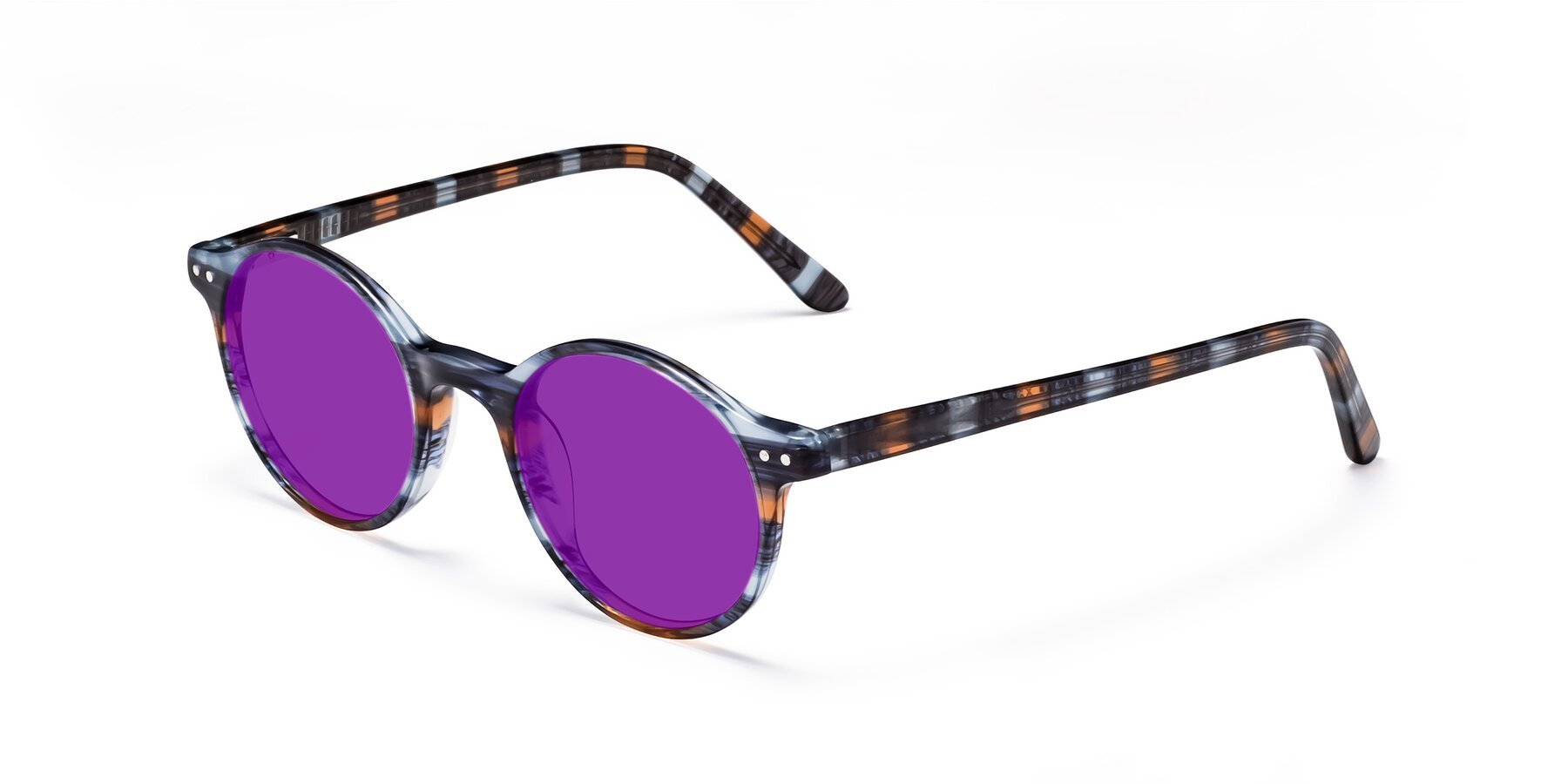 Angle of 17519 in Stripe Blue Brown with Purple Tinted Lenses